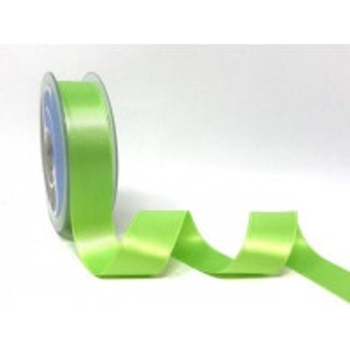 Lime Green Satin Ribbon, 25mm wide, Sold Per Metre