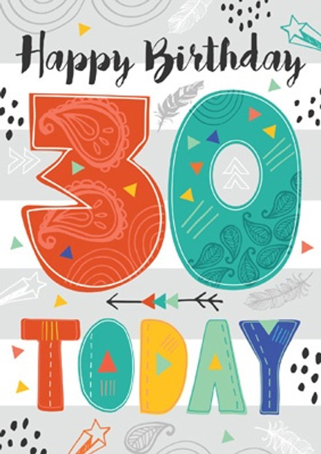 30 - 30 Today Birthday Card