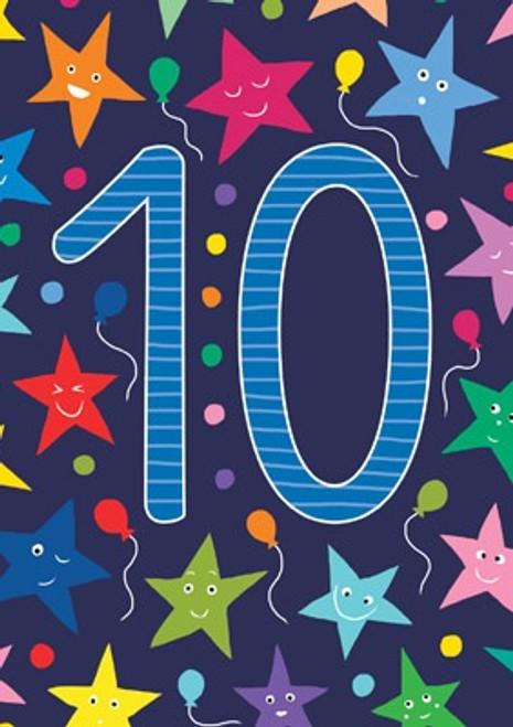 10 - 10th Birthday Stars Birthday Card