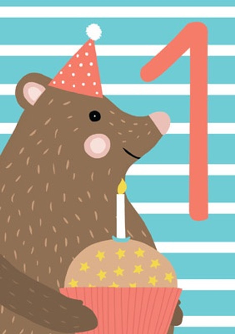 1 - 1st Birthday Bear Birthday Card