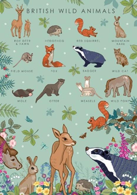 British Wild Animals Blank Card