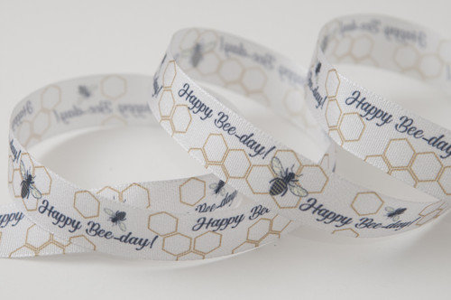 Happy Bee-Day Honeycomb Ribbon, 15mm wide, Sold Per Metre
