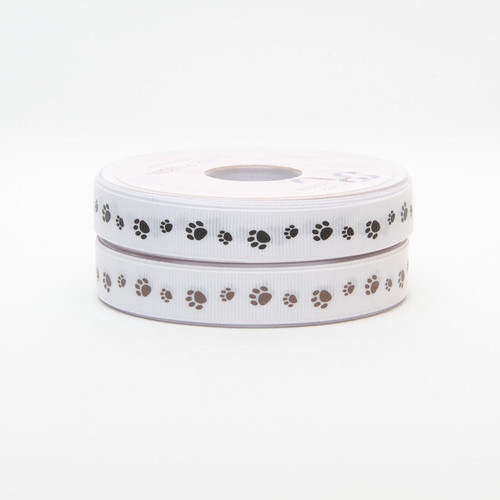 Black Paw Prints on White Grosgrain Ribbon, 16mm wide, Sold Per Metre