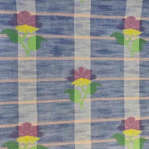 Hirani Flowers on Blue Check 100% Cotton Fabric, 140cm/55in wide, Sold Per HALF Metre