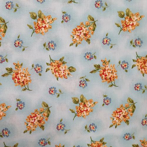 Lantana Flowers on Blue Cotton Fabric, 112cm/44in wide, Sold Per HALF Metre