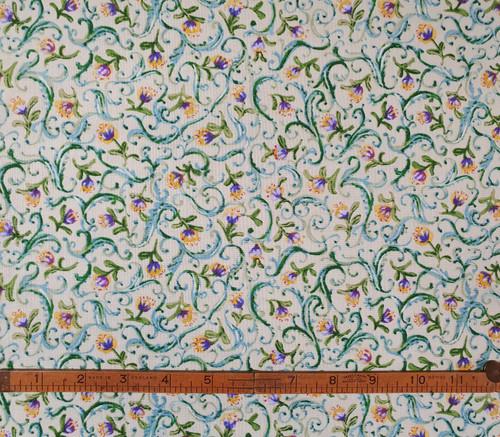 Pond Flower Green & Purple Cotton Fabric, 112cm/44in wide, Sold Per HALF Metre