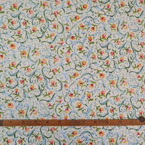 Pond Flower Lime & Pink Cotton Fabric, 112cm/44in wide, Sold Per HALF Metre