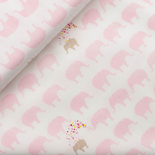 60cm Remnant Pink Elephants on White Cotton Fabric, 150cm/60in wide, 60cm Piece