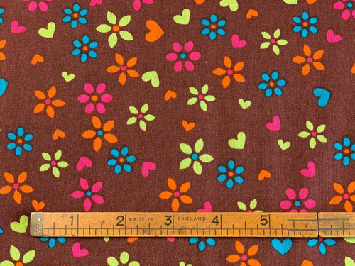 Hoot Owl Bright Floral on Brown Cotton Fabric, 112cm/44in wide, Sold Per HALF Metre