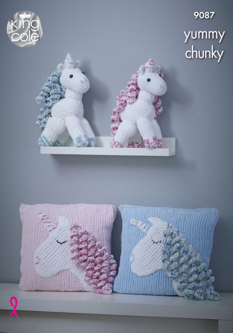 9087 Toy Unicorn & Cushion Yummy Chunky & DK Knitting Pattern