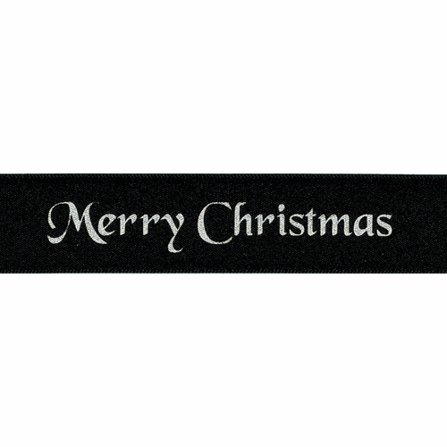 """Silver """"Merry Christmas"""" on Black Satin Ribbon, 10mm wide (Sold Per Metre)"""