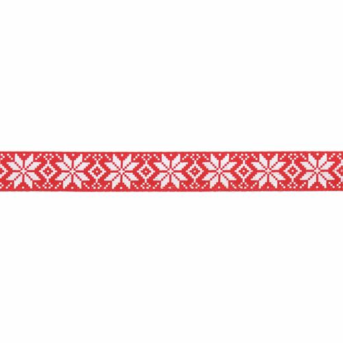 Scandinavian Snowflake Print on Red Satin Ribbon, 10mm wide (Sold Per Metre)