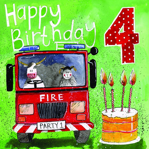 Fire Fighters 4th Birthday Card