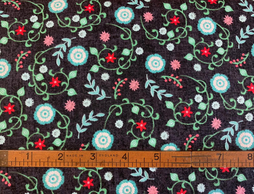 Chalkboard Floral Cotton Fabric, 112cm/44in wide, Sold Per HALF Metre
