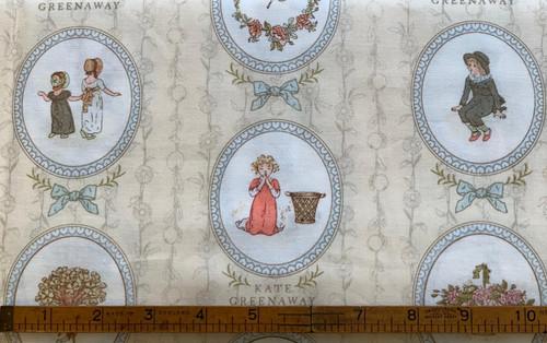 Kate Greenaway Cameos on Cream Cotton Fabric, 112cm/44in wide, Sold Per HALF Metre