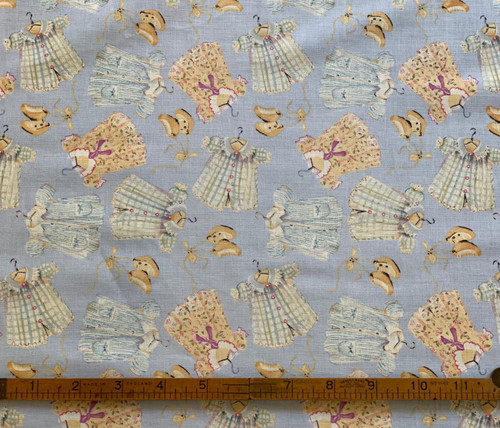 Dolls Clothes on Blue Cotton Fabric, 112cm/44in wide, Sold Per HALF Metre