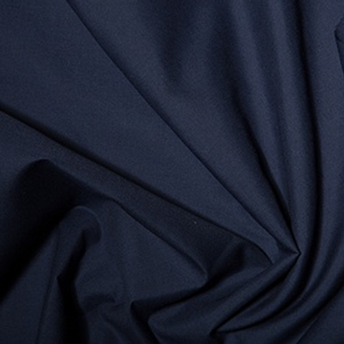 French Navy Plain Polycotton Fabric, 44in wide, Sold Per HALF Metre