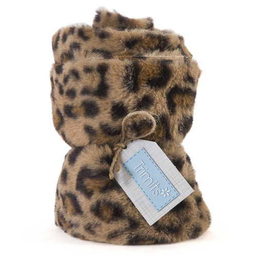 Brown Leopard Faux Fur Trim, 14cm wide x 2mtr Roll