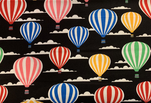 Hot Air Balloons on Black 100% Cotton Poplin Fabric, 112cm/44in wide, Sold Per HALF Metre