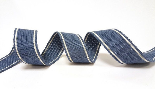 Cadet Blue with White Twin Stripe Webbing, 34mm wide - Perfect for Bag Handles/Straps, Sold Per Metre