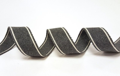 Charcoal with White Twin Stripe Webbing, 34mm wide - Perfect for Bag Handles/Straps, Sold Per Metre