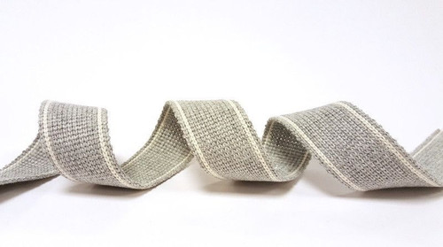 Silver Grey with White Twin Stripe Webbing, 34mm wide - Perfect for Bag Handles/Straps, Sold Per Metre