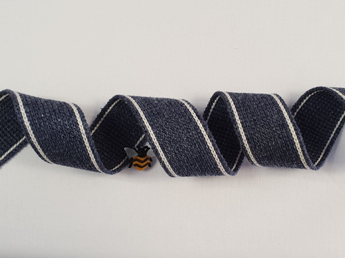 Jeans Blue with White Twin Stripe Webbing, 34mm wide - Perfect for Bag Handles/Straps, Sold Per Metre