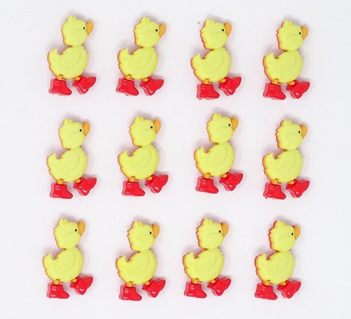 Ducks in Wellington Boots Novelty Buttons, Sold Individually