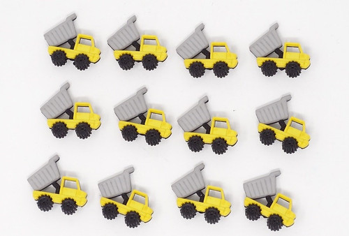 Construction Dumper Truck Novelty Buttons, Sold Individually