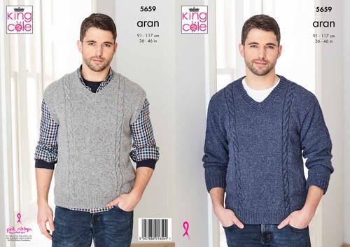 "5659 Mens & Teens Sweater & Sleeveless Sweater Aran Knitting Pattern Size: 36-46"""