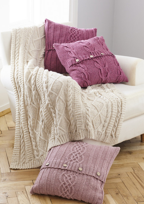 5660 Homeware Cushion Covers & Throw Aran Knitting Pattern