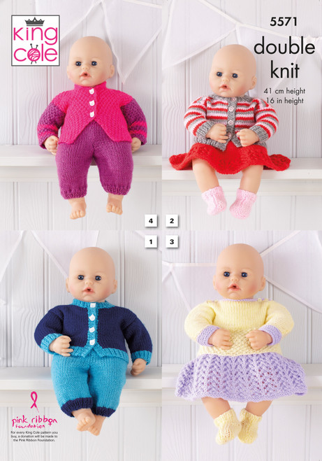 """5571 Toy Dolls Clothes DK Knitting Pattern Size 16"""""""