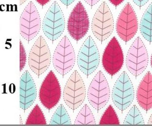 Summer Leaves on White 100% Cotton Poplin Fabric, 112cm/44in wide, Sold Per HALF Metre
