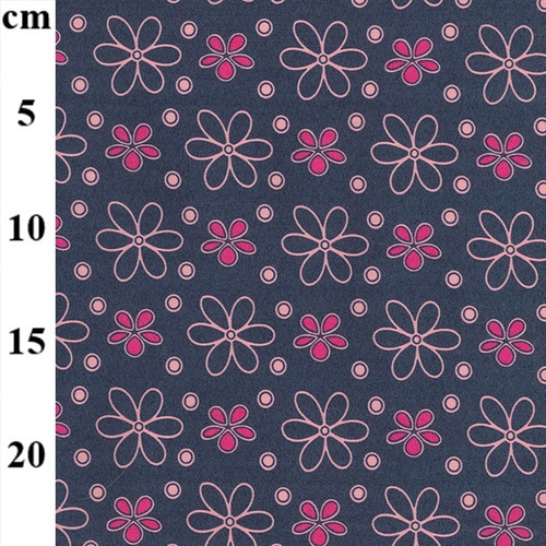 Pink Flower Print on Stretch Denim Fabric, 147cm/58in wide, Sold Per HALF Metre