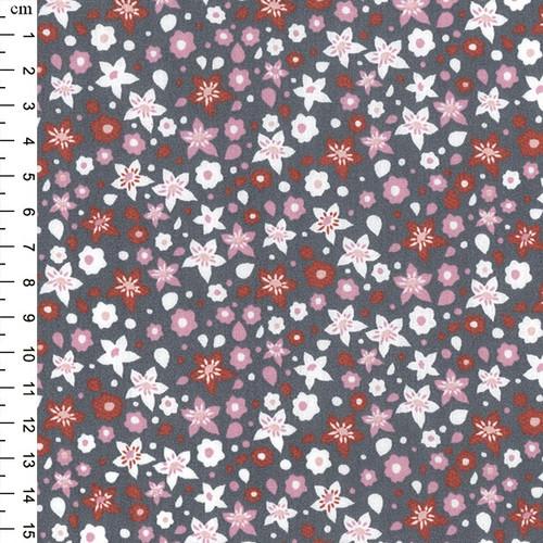 Fuchsia Floral on Grey 100% Cotton Poplin Fabric, 145cm/57in wide, Sold Per HALF Metre