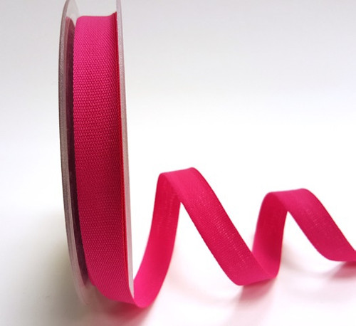 Bright Pink Cotton Blend Tape, 14mm wide, Sold Per Metre