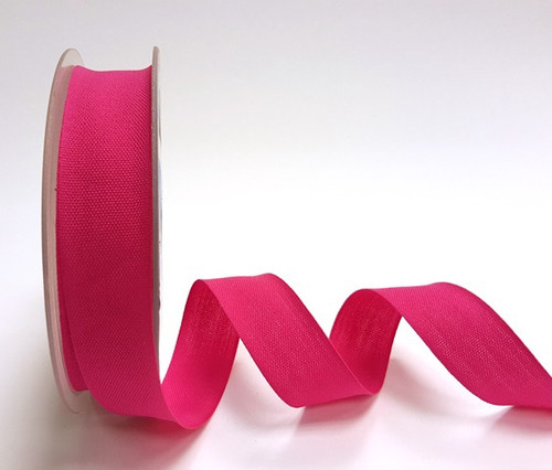 Bright Pink Cotton Blend Tape, 25mm wide, Sold Per Metre