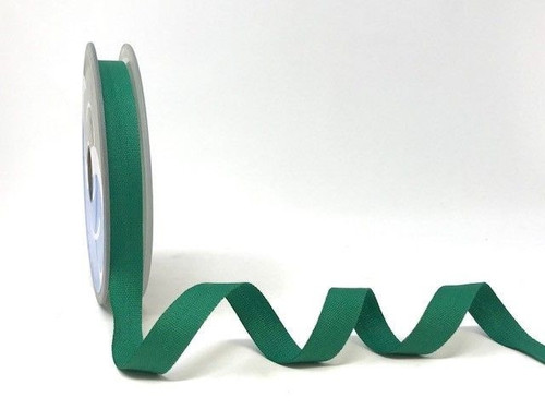 Emerald Green Cotton Blend Tape, 14mm wide, Sold Per Metre