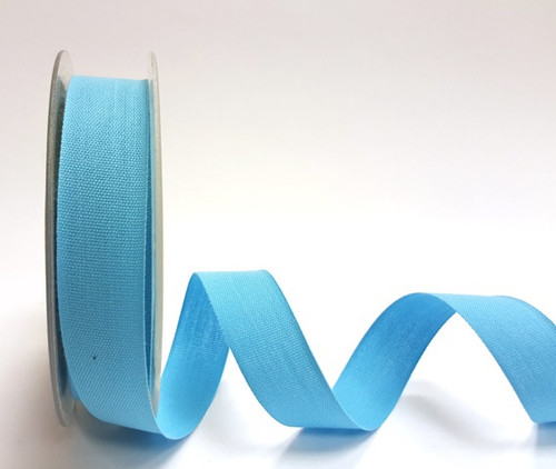 Turquoise Cotton Blend Tape, 25mm wide, Sold Per Metre