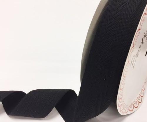 Black 100% Cotton Twill Webbing, 40mm wide, Sold Per Metre