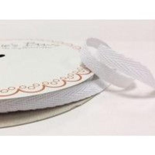 White 100% Cotton Twill Webbing, 10mm wide, Sold Per Metre