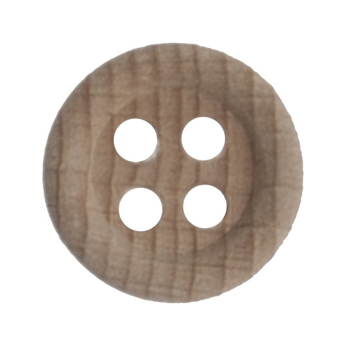Natural Wood 18mm 4-hole Buttons on Card (Code B) x 3pc