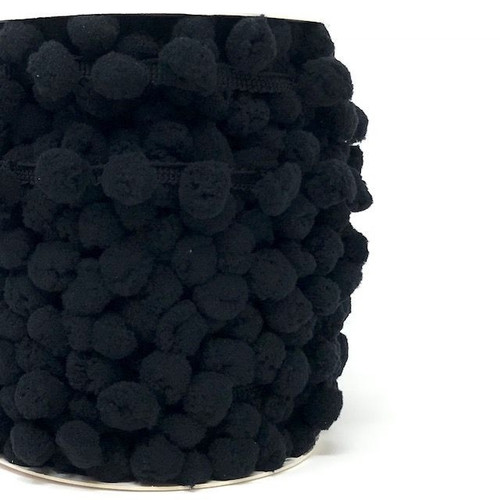 Black Large Pom Pom Trim, Sold Per Metre