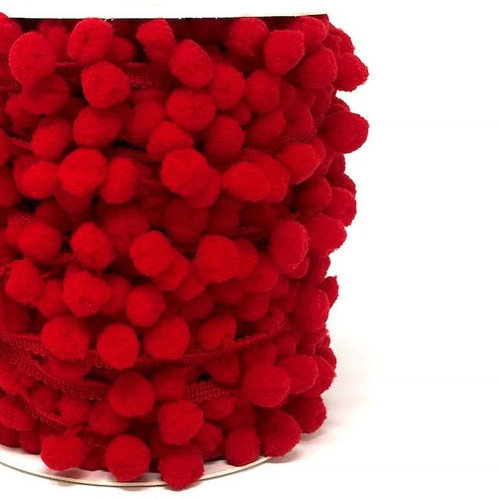 Red Large Pom Pom Trim, Sold Per Metre