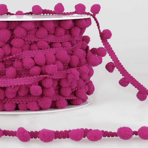 Raspberry Small (10mm) Pom Pom Trim, Sold Per Metre