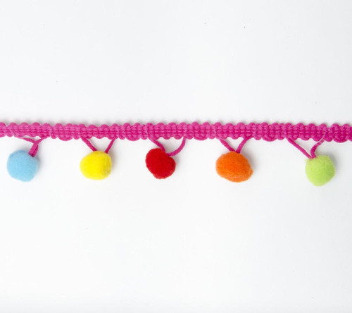 Rainbow Large (15mm) Pom Pom Trim, Sold Per Metre