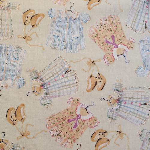 Dolls Clothes on Cream Cotton Fabric, 112cm/44in wide, Sold Per HALF Metre