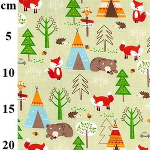 Forest Camping 100% Cotton Poplin Fabric, 112cm/44in wide, Sold Per HALF Metre