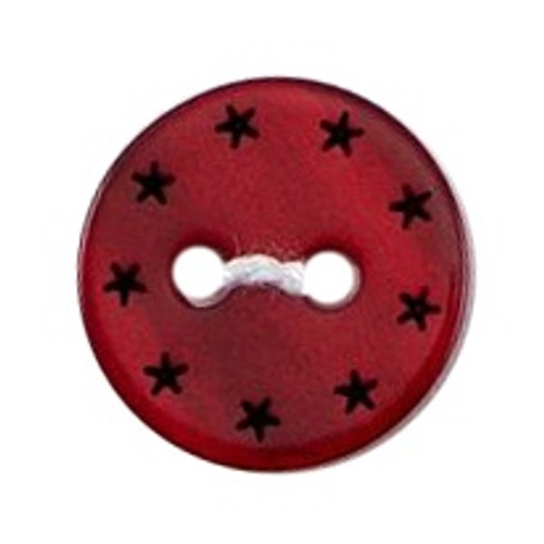 Deep Red with Black Stars 12mm 2-hole Buttons on Card (Code B) x 5pc