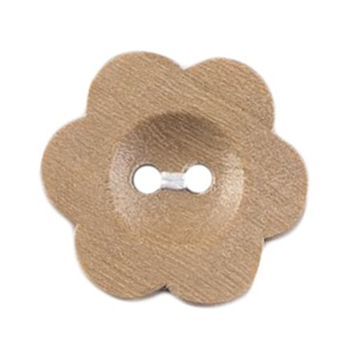 Natural Wood Flower Shape 20mm 2-hole Buttons on Card (Code D) x 3pc